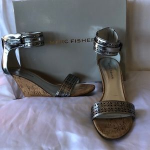 Marc Fisher NIB Pewter/cork wedge sandals